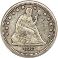 Seated Quarters, 1864-S 25C VF35 PCGS. CAC....