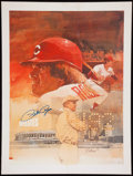 Baseball Collectibles:Photos, Joe DiMaggio and Pete Rose Signed Oversized Prints Lot of 2....