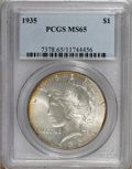 Peace Dollars: , 1935 $1 MS65 PCGS. PCGS Population (589/150). NGC Census: (605/55).Mintage: 1,576,000. Numismedia Wsl. Price for NGC/PCGS ...