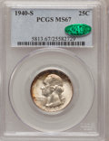 Washington Quarters: , 1940-S 25C MS67 PCGS. CAC. PCGS Population (40/1). NGC Census:(137/1). Mintage: 8,244,000. Numismedia Wsl. Price for probl...