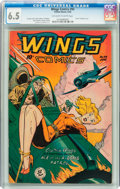 Golden Age (1938-1955):War, Wings Comics #94 (Fiction House, 1948) CGC FN+ 6.5 Off-white to white pages....