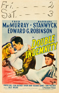 """Double Indemnity (Paramount, 1944). Window Card (14"""" X 22"""")"""