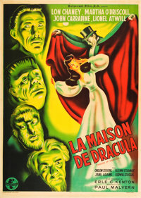 """House of Dracula (Universal, 1947). First Post-War Release French Grande (47"""" X 63"""")"""