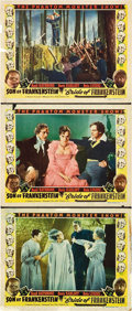 """Movie Posters:Horror, Son of Frankenstein/Bride of Frankenstein Combo (Realart, R-1953). Lobby Cards (3) (11"""" X 14"""").. ... (Total: 3 Items)"""
