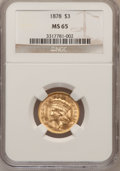 Three Dollar Gold Pieces: , 1878 $3 MS65 NGC. NGC Census: (149/53). PCGS Population (181/68).Mintage: 82,304. Numismedia Wsl. Price for problem free N...