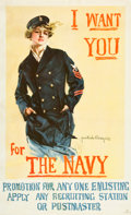 "Movie Posters:War, World War I ""Christy Girl"" Recruiting Poster (U.S. Navy, 1917 ).Howard Chandler Christy Poster (25"" X 41""). ""I Want You for..."