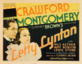 "Movie Posters:Drama, Letty Lynton (MGM, 1932). Title Lobby Card (11"" X 14"").. ..."