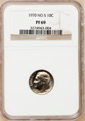 Proof Roosevelt Dimes: , 1970 10C No S PR69 NGC. NGC Census: (9/0). PCGS Population (6/0).Mintage: 2,200. Numismedia Wsl. Price for problem free NG...