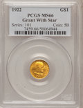 Commemorative Gold: , 1922 G$1 Grant With Star MS66 PCGS. PCGS Population (575/224). NGCCensus: (295/103). Mintage: 5,016. Numismedia Wsl. Price...