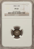 Proof Three Cent Silver, 1864 3CS PR63 NGC....