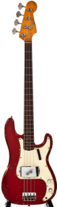 Musical Instruments:Bass Guitars, Early 1965 Fender Precision Bass Candy Apple Red Electric BassGuitar, #L53692....