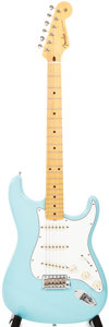 Musical Instruments:Electric Guitars, 2010 Fender Stratocaster Daphne Blue Solid Body Electric Guitar,#R54041....
