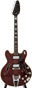 Musical Instruments:Electric Guitars, Late 1960s Vox Cheetah Wine Red Semi-Hollow Body Electric Guitar, #384716....