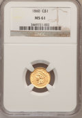Gold Dollars: , 1860 G$1 MS61 NGC. NGC Census: (35/84). PCGS Population (8/71).Mintage: 36,668. Numismedia Wsl. Price for problem free NGC...