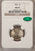 Liberty Nickels: , 1896 5C MS64 NGC. CAC. NGC Census: (89/52). PCGS Population(103/65). Mintage: 8,842,920. Numismedia Wsl. Price for problem...