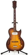 Musical Instruments:Electric Guitars, 1960 Kay Galaxy Sunburst Semi-Hollow Body Electric Guitar #NoSerial...