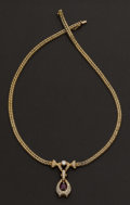 Estate Jewelry:Necklaces, Gold, Diamond & Ruby Necklace. ...