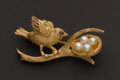 Estate Jewelry:Brooches - Pins, Gold & Pearl Bird Pin. ...
