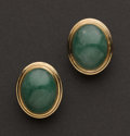 Estate Jewelry:Earrings, Jade & Gold Earrings. ...