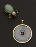 Estate Jewelry:Brooches - Pins, Jade Pin & Pendant. ...