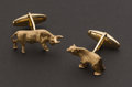 Estate Jewelry:Cufflinks, Bear & Bull 14k Gold Cufflinks. ...