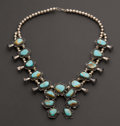Estate Jewelry:Necklaces, Silver & Turquoise Squash Blossom Necklace. ...