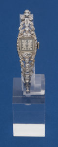 Timepieces:Wristwatch, Gylcine Platinum & Diamond Wristwatch With Platinum &Diamond Band. ...