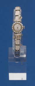 Timepieces:Wristwatch, Swiss 14k White Gold & Diamond Wristwatch With A 14k Gold Band....