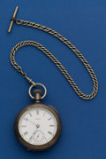 Timepieces:Pocket (post 1900), Waltham 4 oz. Coin Silver 18 Size Pocket Watch With A Nickel Chain....