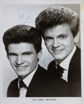 Music Memorabilia:Autographs and Signed Items, Everly Brothers Signed Photograph....