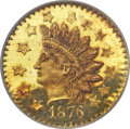 California Fractional Gold, 1876 50C Indian Round 50 Cents, BG-1062, R.7, MS65 ProoflikeNGC....