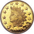 California Fractional Gold, 1876 50C Indian Round 50 Cents, BG-1065, MS65 Deep Mirror ProoflikeNGC....