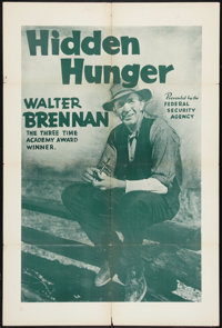 "Hidden Hunger (Federal Security Agency, 1942). Poster (28"" X 42""). Documentary"