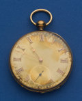 Timepieces:Pocket (pre 1900) , Ulysses Breitling Swiss 18k Gold 46 mm Key Wind Pocket Watch. ...