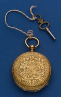 Timepieces:Pocket (pre 1900) , Ledmole Swiss 42 mm 18k Gold Hunter's Case Pocket Watch. ...