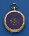 Timepieces:Pocket (pre 1900) , Courvoisier 35 mm 18k Gold & Enamel Key Wind Pocket Watch. ...