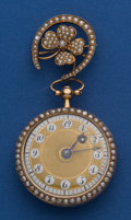 Timepieces:Pocket (pre 1900) , Swiss 32 mm Verge Fusee 18k Gold Case 14k Gold Pearl Watch Pin. ...