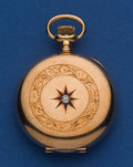 Timepieces:Pocket (post 1900), Elgin 14k Gold Diamond Set 6 Size Pocket Watch. ...
