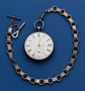 Timepieces:Pocket (pre 1900) , Swiss 50 mm Silver Key Wind Pocket Watch With Early Silver Chain....