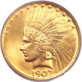 Indian Eagles, 1907 $10 No Periods MS65 PCGS....