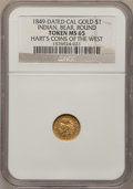 "California Gold Charms, ""1849"" Round One California Gold MS65 NGC...."
