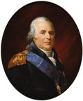 Paintings, Jean Georget (1763 - 1823). Louis XVIII, Circa 1820. Oil on Paris Porcelain. 32-3/4 x 27 inches (83.3 x 68.6 cm). sig...