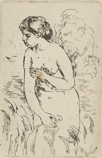 Pierre Auguste Renoir (1841-1919) Femme nu couche tournee a droite, no.2 Etching 6-1/2in. x 4in. Signed at lower rig