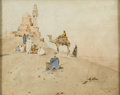 Fine Art - Painting, European:Antique  (Pre 1900), CONTINENTAL SCHOOL (Nineteenth Century). Arabian DesertScene. Watercolor on paper. 7-1/2in. x 9-1/2in.. Signed atlower...