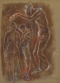 Fine Art - Painting, American:Contemporary   (1950 to present)  , EMANUEL GLICENSTEIN ROMANO (American, 1897-1984). Expulsion fromthe Garden. Watercolor and pastel on brown paper. 11-1/...
