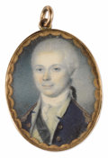 Fine Art - Painting, American:Antique  (Pre 1900), Charles Willson Peale (American, 1741-1827). . Richard Cary. Undated. Watercolor on ivory. Unsigned. 1-1/2 x 1-1...
