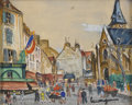 Fine Art - Painting, European:Other , LUCIEN GENIN (French, 1894-1953). Paris Street Scene.Watercolor and gouache on paper. 8in. x 10in.. Signed at lowerrig...