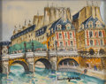 Fine Art - Painting, European:Other , LUCIEN GENIN (French, 1894-1953). The Seine, Paris.Watercolor and gouache on paper. 8in. x 10in.. Signed at lowerright...