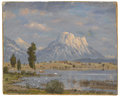 Fine Art - Painting, European:Other , Attributed to RUDOLF CONRAD ERICH ALLWARDT (German, 1902-1983).Landscape with Mountains. Oil on canvas laid on board. 1...(Total: 1 Item)