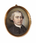 Fine Art - Painting, American:Antique  (Pre 1900), Charles Willson Peale (American, 1741-1827). . John BealeBordley (1727-1804). Watercolor on ivory. Unsigned. 1-3/8 ...